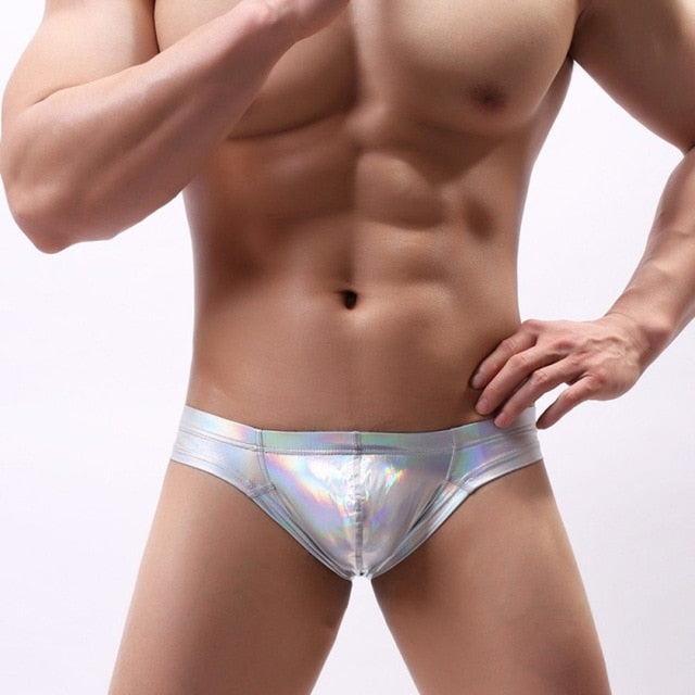 Metallic Hologram Briefs for Pride and Party Silver