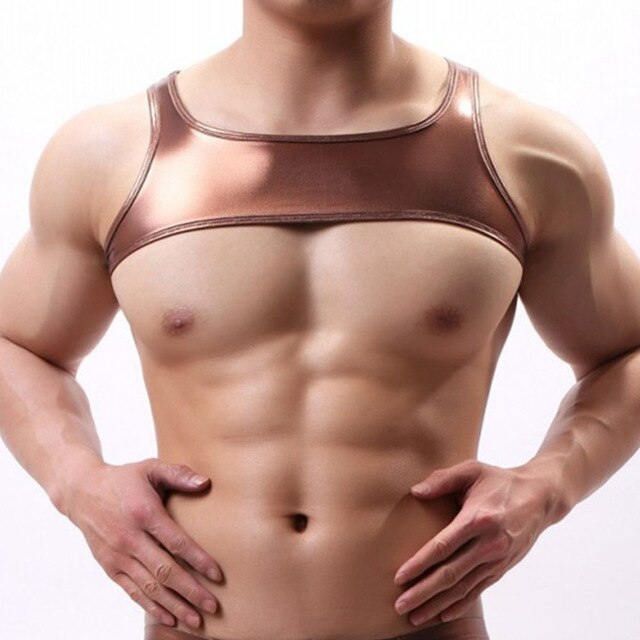 Metallic Hologram Harness Top for Pride and Party Bronze