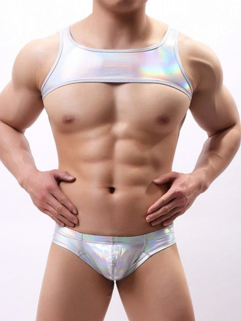 Metallic Hologram Harness Top & Bottom Set for Pride and Party Silver
