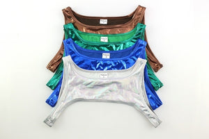 Metallic Hologram Harness Top & Bottom Set for Pride and Party Blue