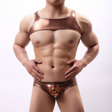 Load image into Gallery viewer, Metallic Hologram Harness Top & Bottom Set for Pride and Party Bronze