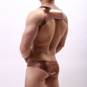 Metallic Hologram Harness Top & Bottom Set for Pride and Party Bronze