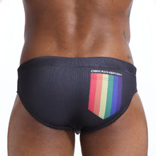 Load image into Gallery viewer, Fire Island Swim Briefs with Tribal Print Speedos black