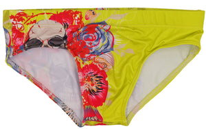Skully Swim Briefs Speedo with Tattoo Skull Floral Print