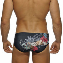 Load image into Gallery viewer, Skully Swim Briefs Speedo with Tattoo Skull Floral Print