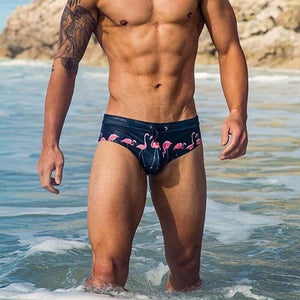 Miami Swim Trunks Briefs with Flamingo Dark Blue