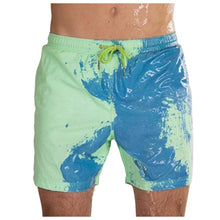 Load image into Gallery viewer, SPLASH! Colour Changing Magical Swim Beach Shorts Lime-Blue
