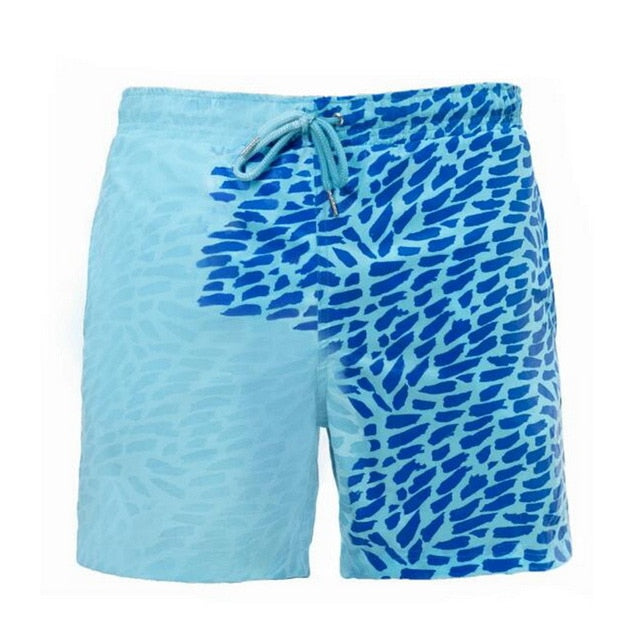 SPLASH! Colour Changing Magical Swim Beach Shorts Turquoise-Blue Leo