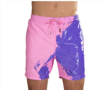 Load image into Gallery viewer, SPLASH! Colour Changing Magical Swim Beach Shorts Pink-Purple