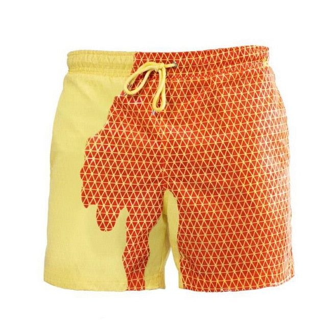 SPLASH! Colour Changing Magical Swim Beach Shorts Yellow-Orange Pattern