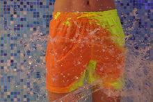 Load image into Gallery viewer, SPLASH! Colour Changing Magical Swim Beach Shorts Yellow-Orange