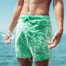 Load image into Gallery viewer, SPLASH! Colour Changing Magical Swim Beach Shorts Mint-Green