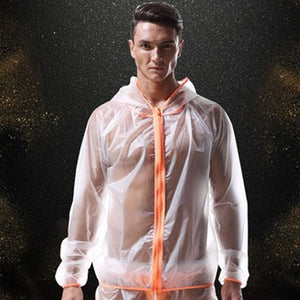 Berlin Transparent Beach Jacket Sheer Hoodie Orange