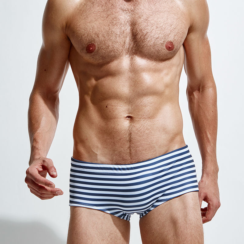 Retro Briefs Swimwear High Waist blue-white