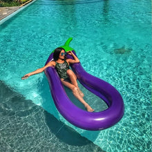 Load image into Gallery viewer, Emoji Eggplant Pool Float Aubergine purple
