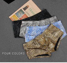 Load image into Gallery viewer, Sheen Holographic Swimsuit Hipster Trunks for men metallic gold