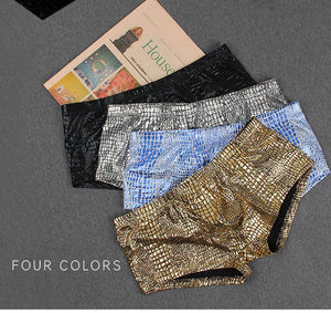 Sheen Holographic Swimsuit Hipster Trunks for men metallic gold