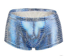 Load image into Gallery viewer, Sheen Holographic Swimsuit Hipster Trunks for men metallic blue