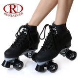 roller skate classic black double row skating shoes pulley shoes 4 wheel shoes outdoor indoor riding asphalt road roller skate - fishingnvarieties.store
