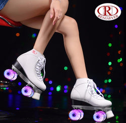 RENIAEVER double roller skates,  skating shoe, Gift girls white flashing wheels roller shoe, figure skates,white