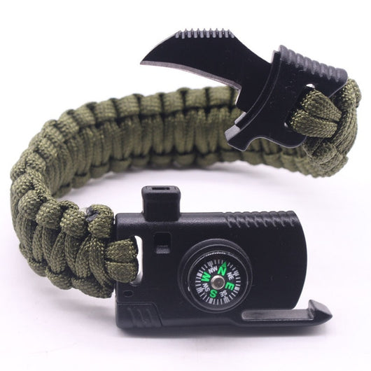 Outdoor Paracord Survival Bracelet Camping equipment Gear Kit Parachute Rope Bracelet Compass Survival Mini Knife Whistle - fishingnvarieties.store