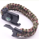 Outdoor Paracord Survival Bracelet Camping equipment Gear Kit Parachute Rope Bracelet Compass Survival Mini Knife Whistle