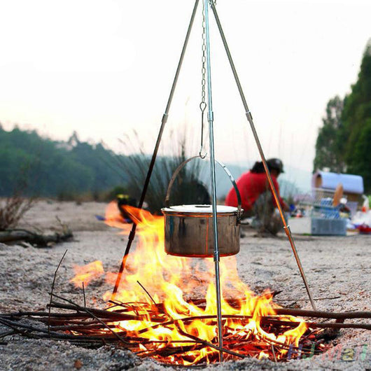 BBQ Grill Tripod Outdoor Camping Campfire Holder Camp Picnic Cooking Pot Tool - fishingnvarieties.store