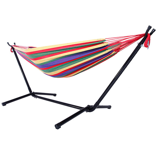 Durable Outdoor Polyester Hammock with Stand Camping Hammock for Indoor Outdoor Use - fishingnvarieties.store