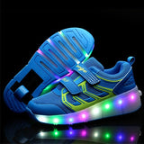 2018 LED Flashing Skating Shoes Invisible Automatic Pulley Single Double Wheels Boy Girl Roller Skate Luminous Shoes - fishingnvarieties.store