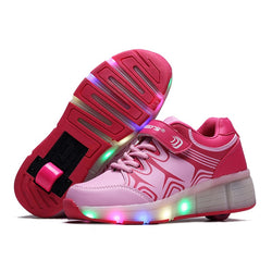 2017 Spring Summer Teenagers Pulley Shoes Double Wheels LED Switch Rechargeable Adult Light Shoes Glowing Skating Shoes - fishingnvarieties.store