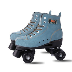 BSTFAMLY Adult  Artificial Leather Roller Skates Double Line Skates Two Line Skating Shoes Patines With Black PU 4 Wheels IB98 - fishingnvarieties.store