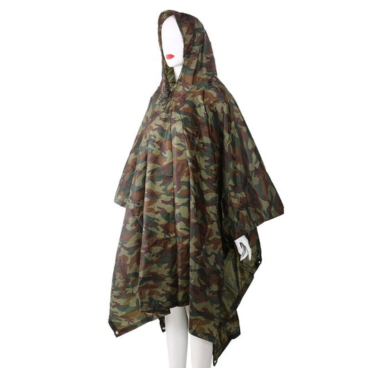 3in1 Outdoor Backpack Rain Cover Poncho Coat Camouflage Tent Awning Mat Camping Tool Outdoor Camping Equipment - fishingnvarieties.store