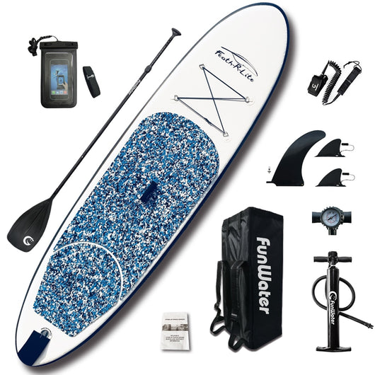 Inflatable Paddle Board 305*76*10cm with AdjustablePaddle,Backpack,leash,pump - fishingnvarieties.store