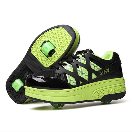 Roller Skates Shoes Invisible Automatic Pulley Roller Shoes Girls Boy Single & Double Wheel Roller Skates Sneakers Skating Shoes - fishingnvarieties.store