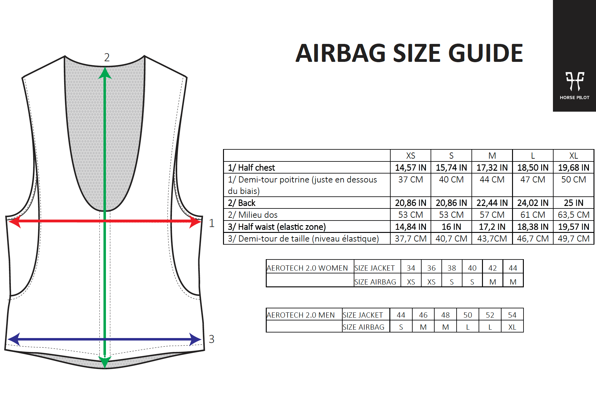 Horse Pilot Air Bag Size Chart