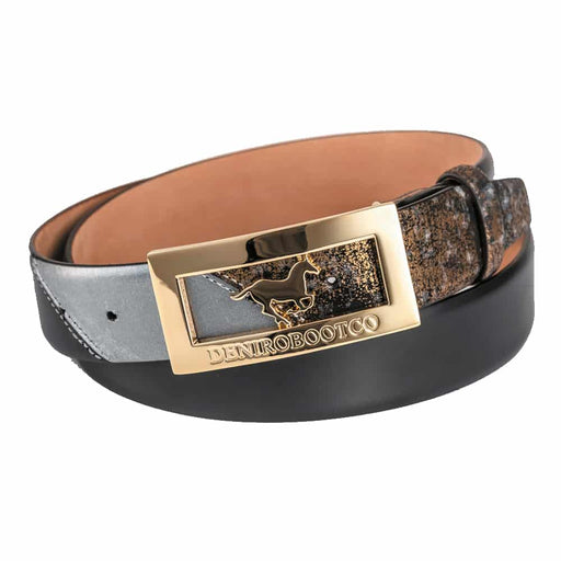 Deniro Infinito Gold Brushed Grey Belt