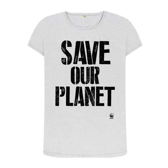 Circulair t-shirt Save Our Planet - grijs - dames