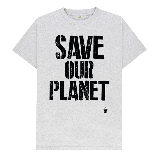 Circulair t-shirt Save Our Planet - grijs - heren