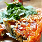 Ham and spinach quiche with cranberry cinnamon jam