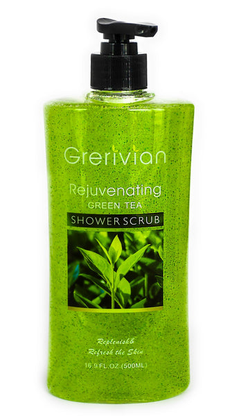 Grerivian GREEN TEA SHOWER SCRUB - Exfoliating, rejuvenating & Lightening Body Wash - www.grerivian.com