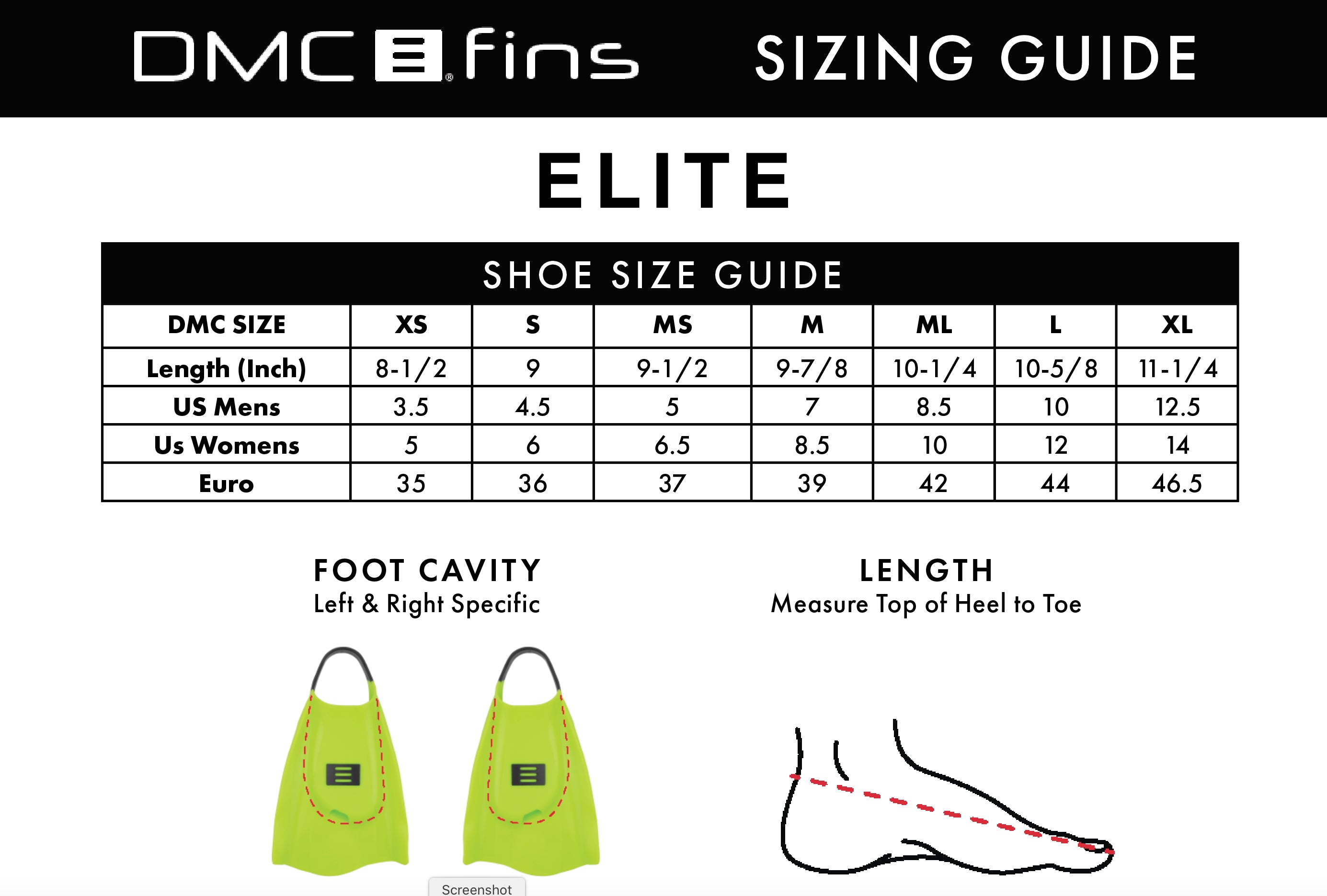 DMC Fins Elite UV size guide