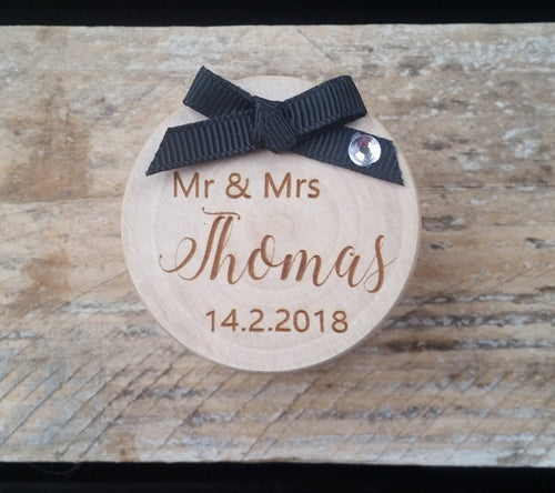 Wooden Wedding Ring Box with Ribbon Bow