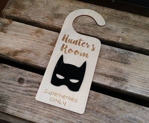 Superhero Children's Wooden Door Sign