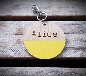 WOODEN Bag Tag (Round) with Paint Dip
