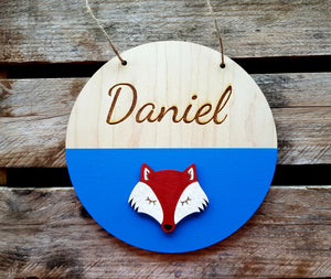 Paint-Dipped Baby/Kids Name Plaque with Feature Wooden Embellishment
