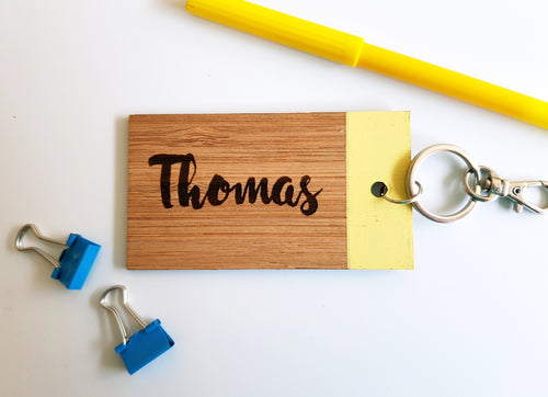 WOODEN Bag Tag (Rectangle) with Paint Dip