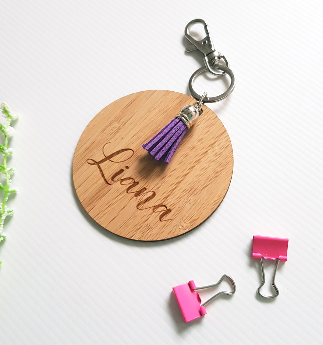 Boho Tassle WOODEN Bag Tag