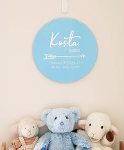 Baby Birth Details Plaque (Pastel Acrylic)