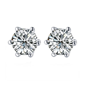 Louily Sterling Silver Classic Round Cut Earring
