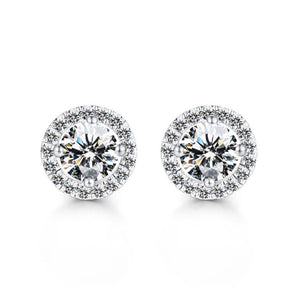 Louily Sterling Silver Classic Halo Round Cut Earring